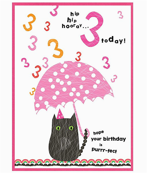 3rd Birthday Card Girl Cat Birthday Cards for Girls Age Cards 3rd Birthday