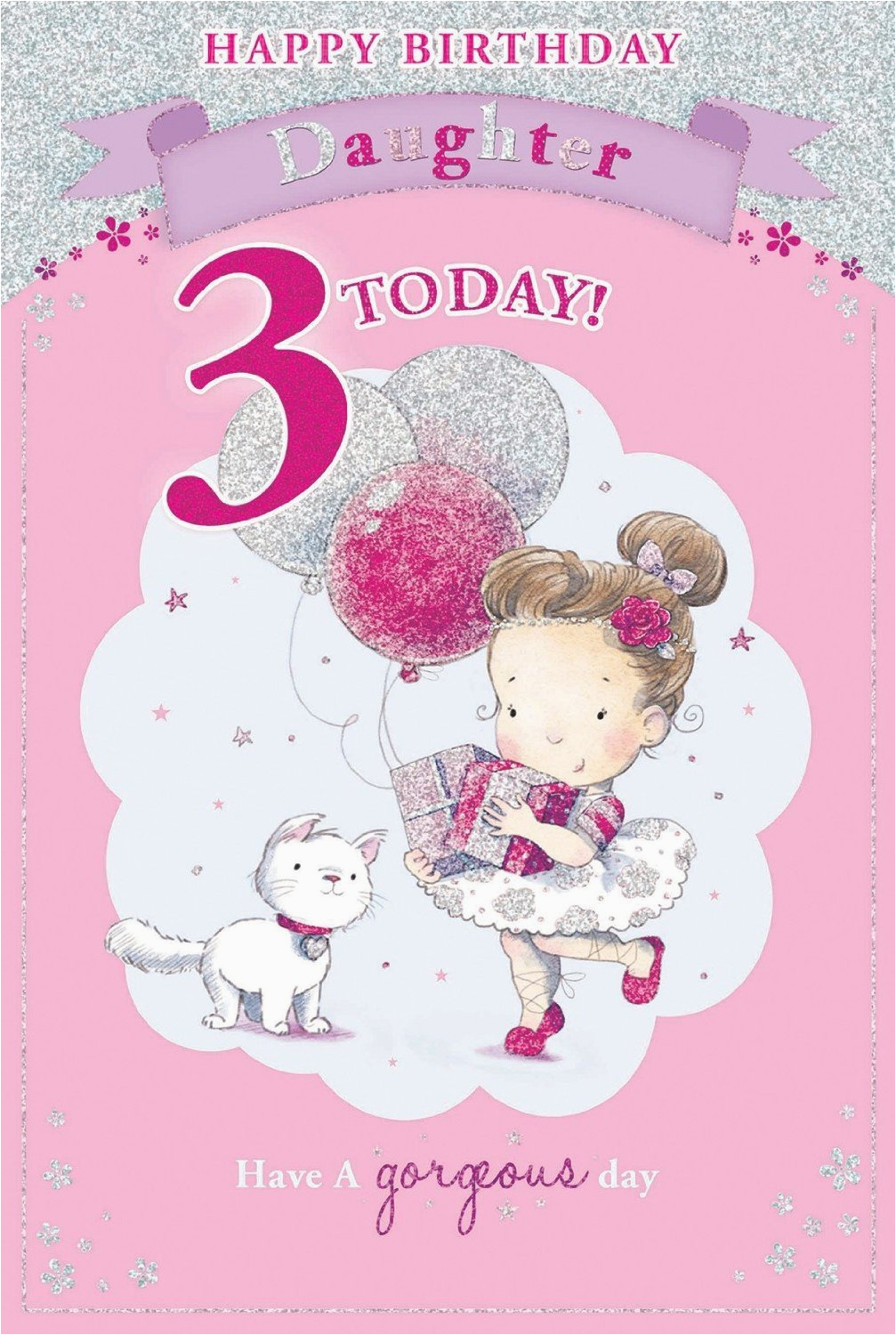 3rd Birthday Card Girl Daughter S 3rd Birthday Card 3 today Little Girl with
