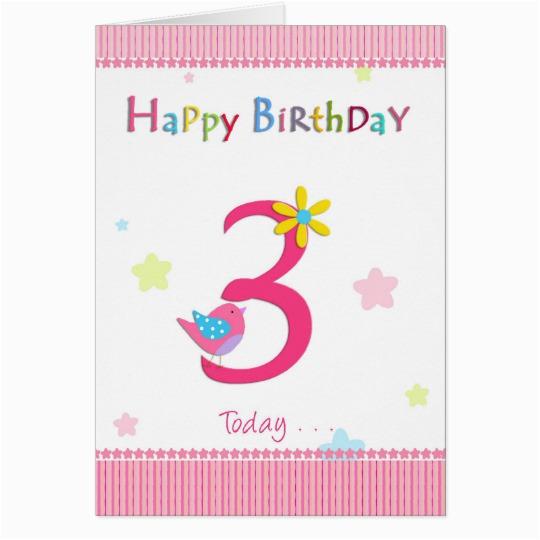 3rd Birthday Card Girl Happy 3rd Birthday Girl Card Zazzle