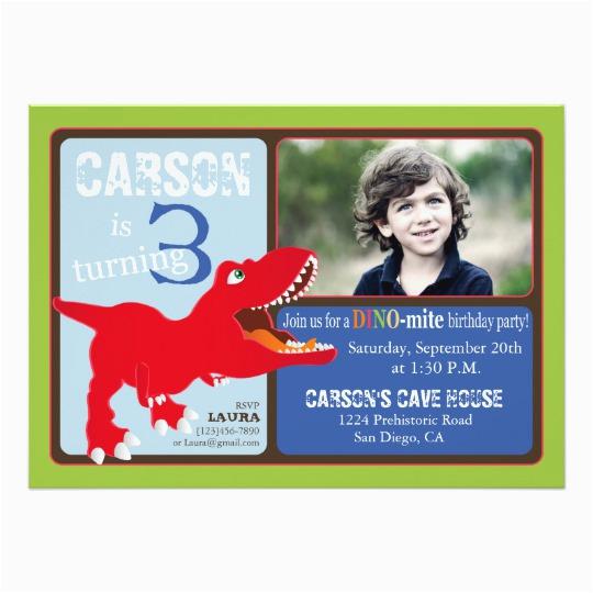 3rd Birthday Invitation Cards Red T Rex Dinosaur Third Card Zazzle