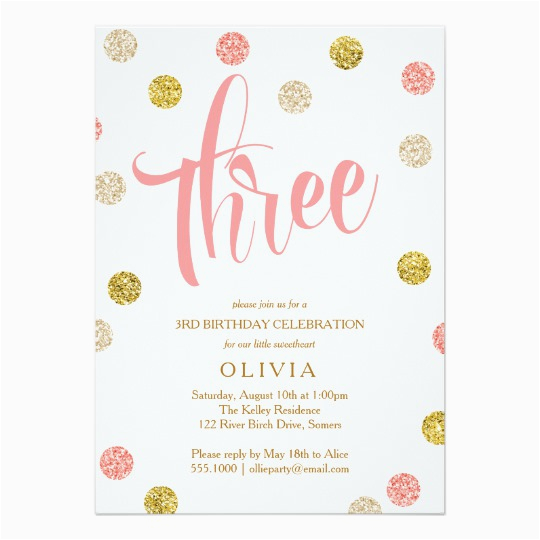 3rd Birthday Invitation Cards Third Pink And Gold Card Zazzle Com