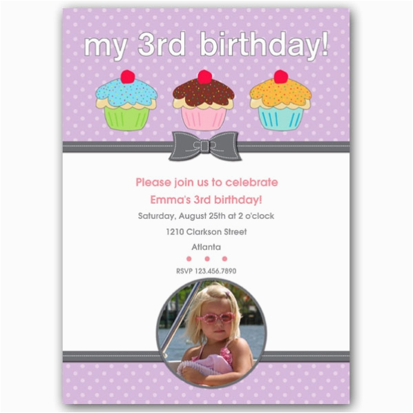 three cupcakes girl third birthday invitations p 615 57 355