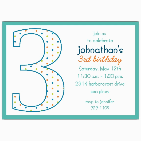 3rd Birthday Invitation Wording Boy Dots Invitations Paperstyle