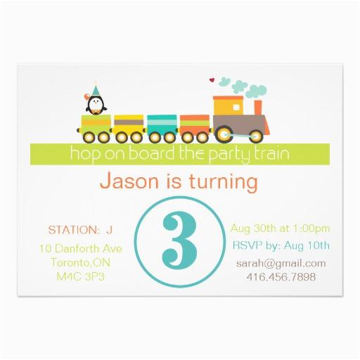3rd Birthday Invitation Wording Boy Train 5 Quot X 7