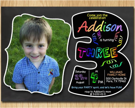 3rd Birthday Invitation Wording Boy Chalkboard Invite Rainbow Colors