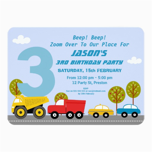 3rd Birthday Invitation Wording Boy Boys Transport 3rd Birthday Party Invitation Zazzle
