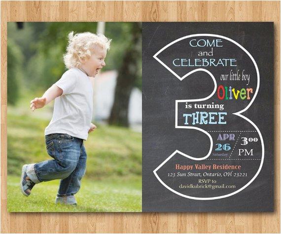 chalkboard 3rd birthday invitation with