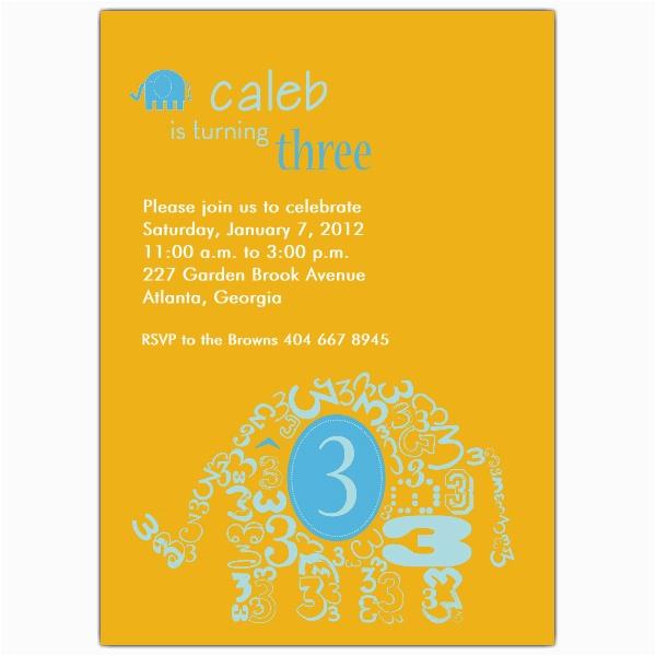 3rd Birthday Invitation Wording Boy Elephant Invitations Paperstyle
