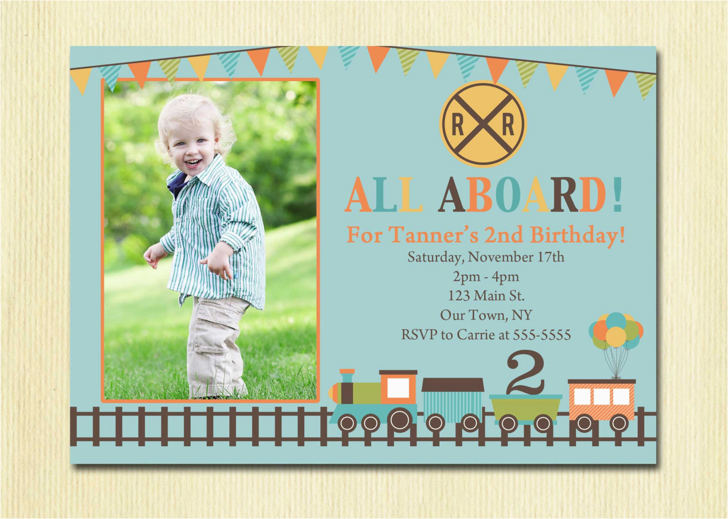 3rd Birthday Invitation Wording Boy Train Boys 1st 2nd 4th