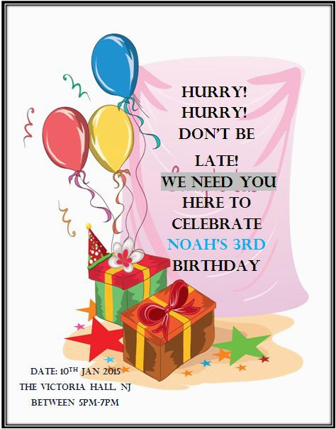 3rd Birthday Party Invitation Message Wording Demplates