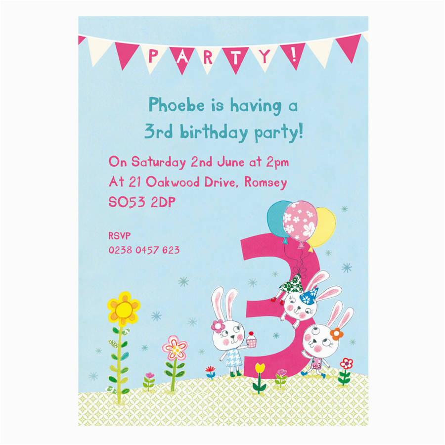 3rd Birthday Party Invites Personalised Third Invitations By Made