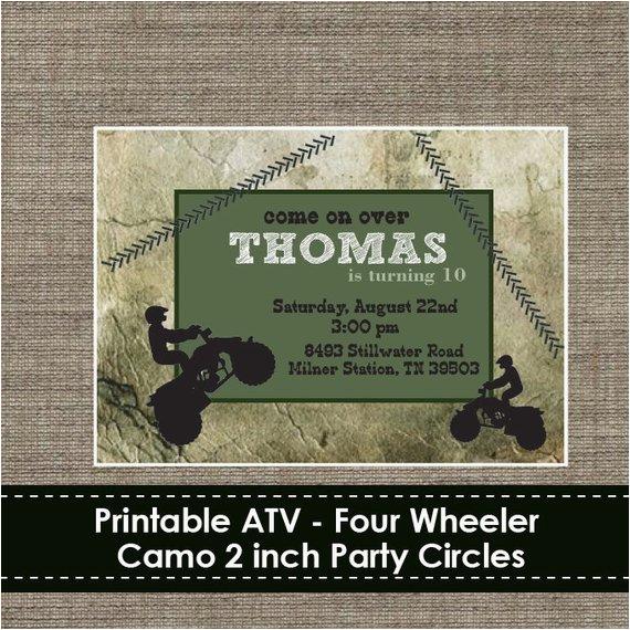 4 Wheeler Birthday Invitations Atv Four Camo Invitation Diy Printable
