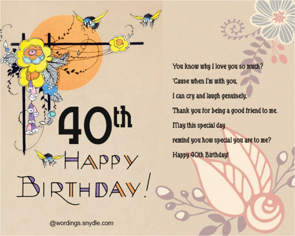 40th birthday greeting card messages