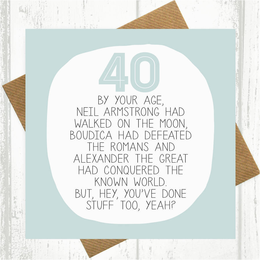 by your age 40th birthday card