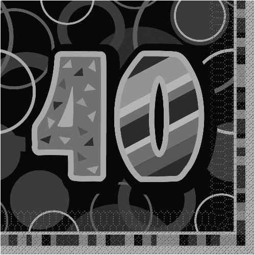 40th Birthday Decorations Black And Silver Glitz Napkins In Packs Of 16 Party