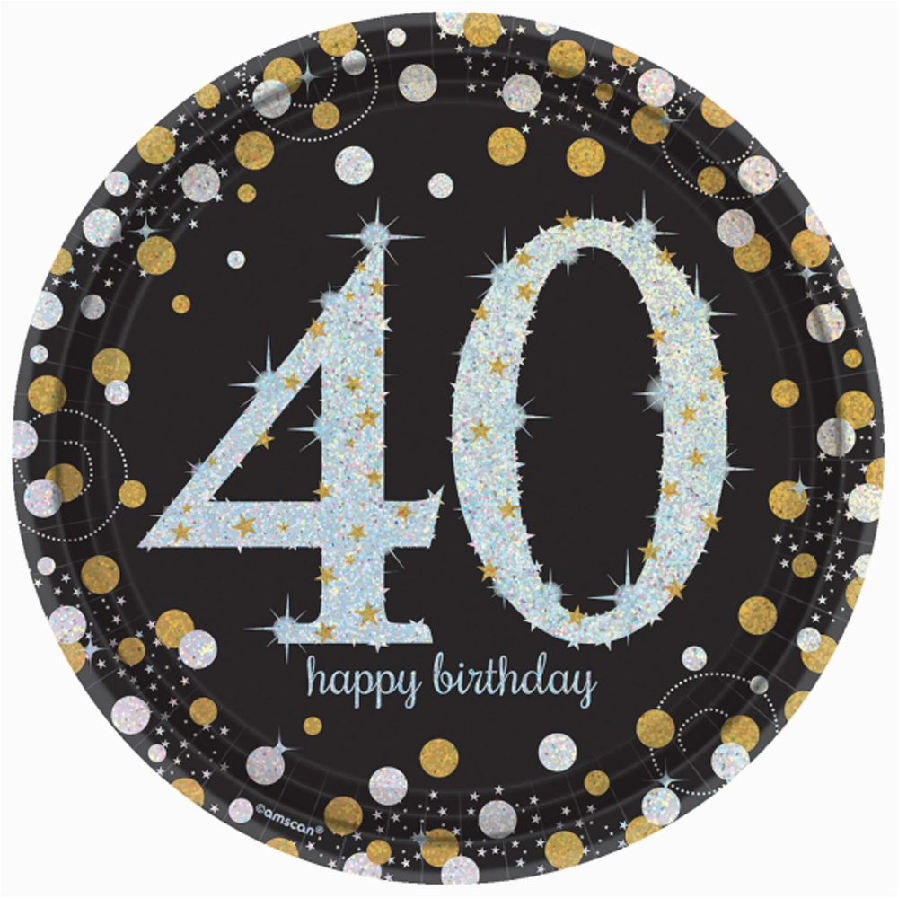40th Birthday Decorations Black And Silver 8 Gold Celebration Age 40 Paper Plates