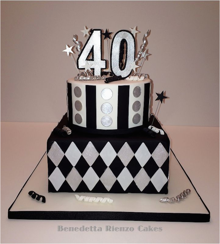 40th Birthday Decorations Black And Silver White Cake