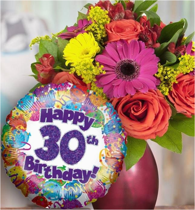 30th birthday flowers and balloon available for uk wide