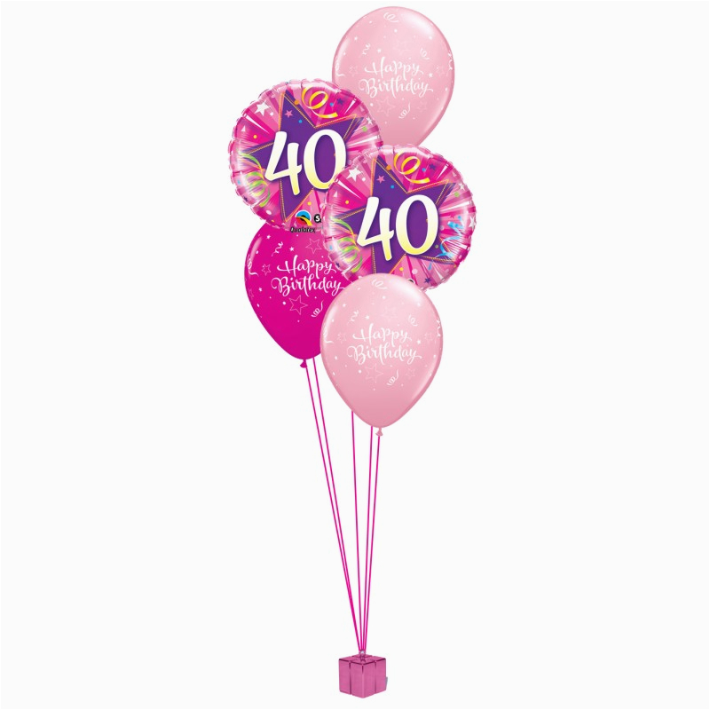 pink 40th birthday balloon bouquet party fever