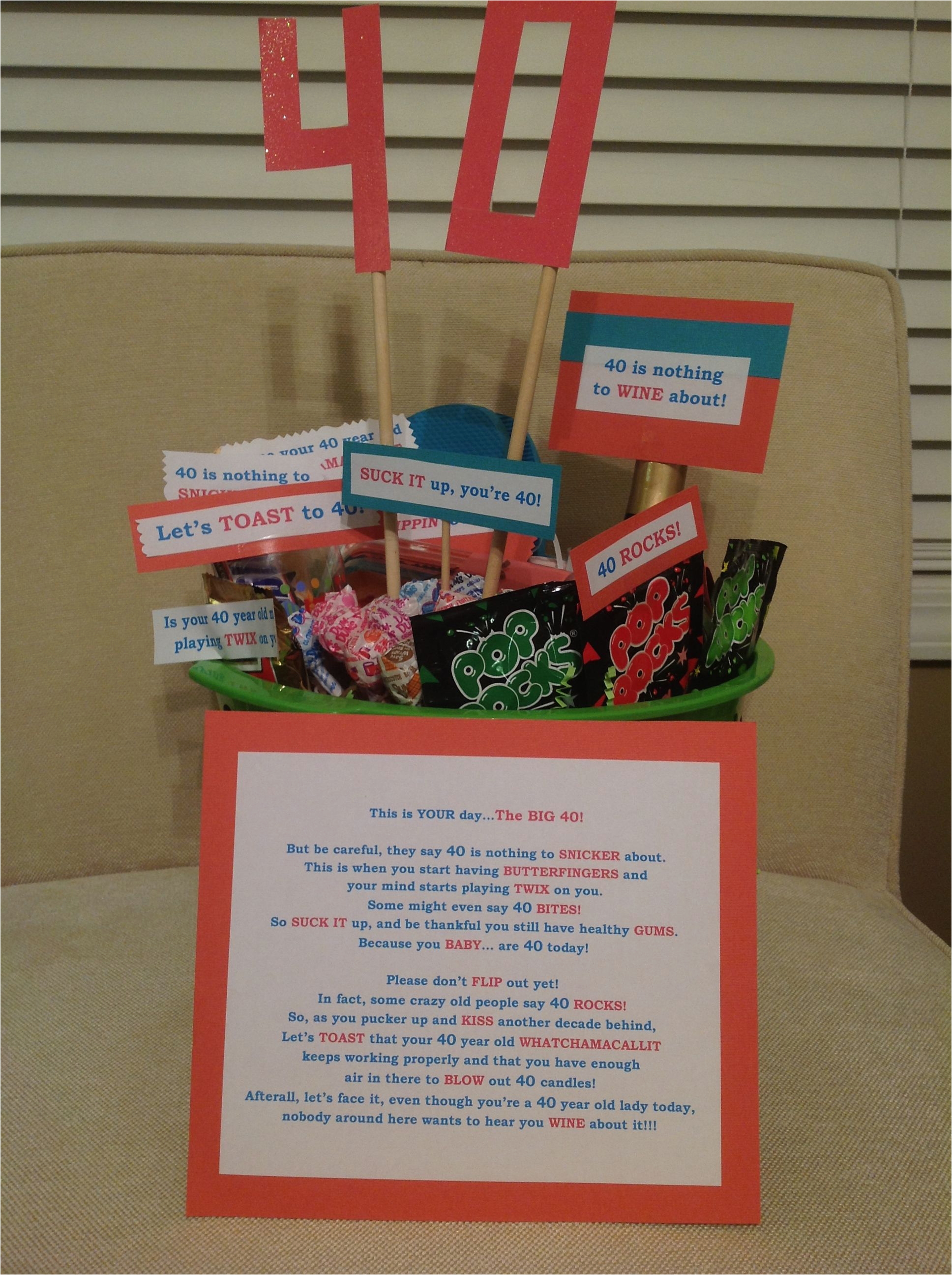 40th Birthday Gag Gifts For Her Party Gift Basket Diy So Easy To Put