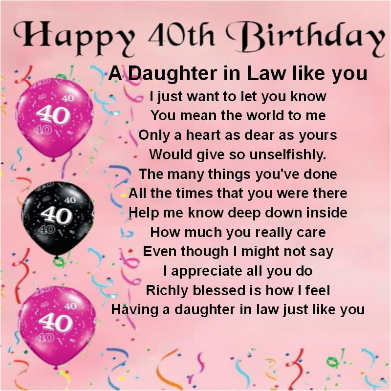 40th Birthday Ideas For Daughter Personalised Coaster In Law Poem
