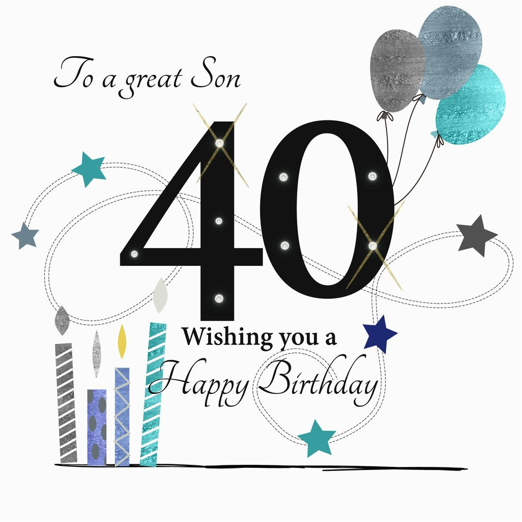 40th Birthday Ideas For Son Happy Card Rush Design