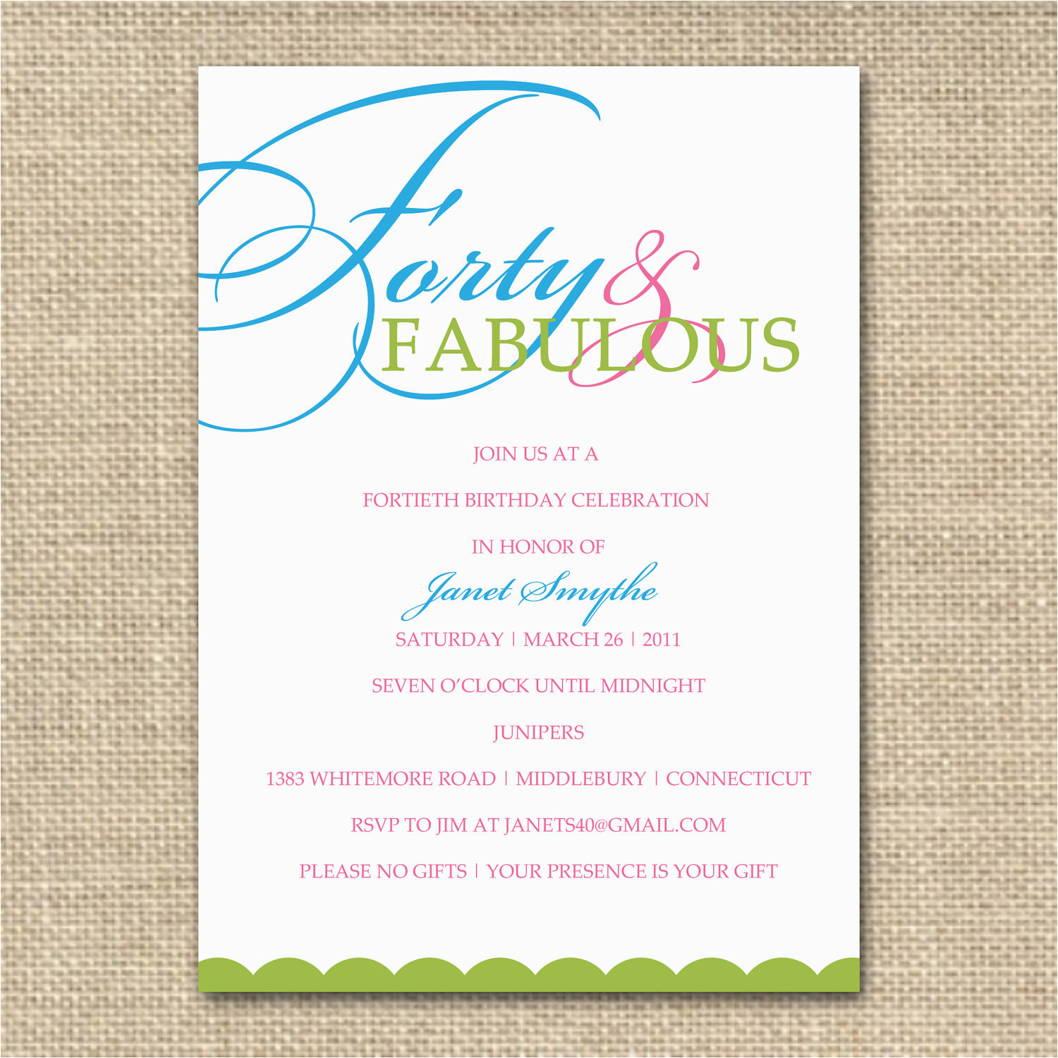 40th Birthday Invitation Wording Samples 10 Invite Decision Free