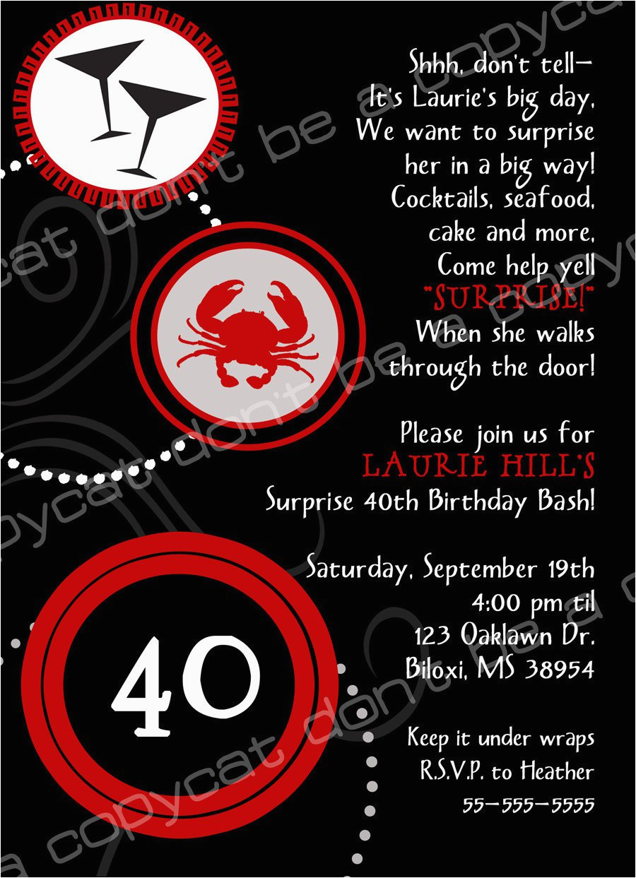 40th Birthday Invitation Wording Samples Surprise Best