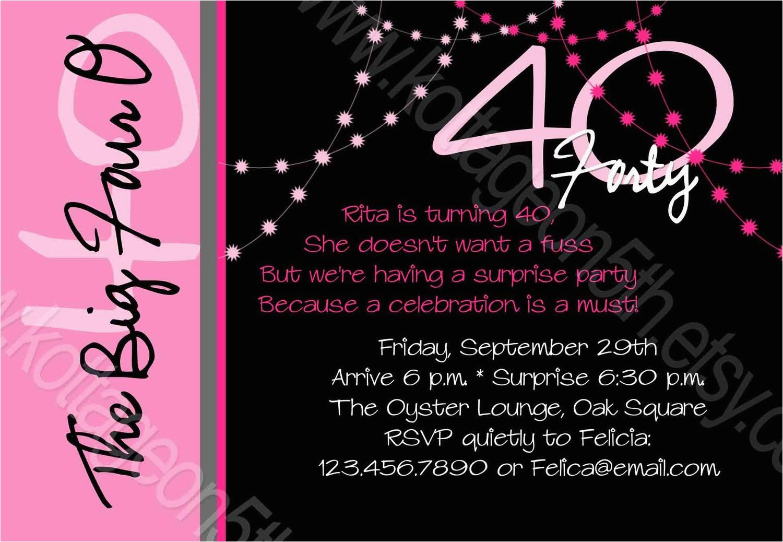 40th birthday invitation wording oxsvitation com