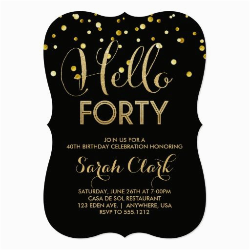 40th Birthday Invitations Ideas Gifts Party Invitation