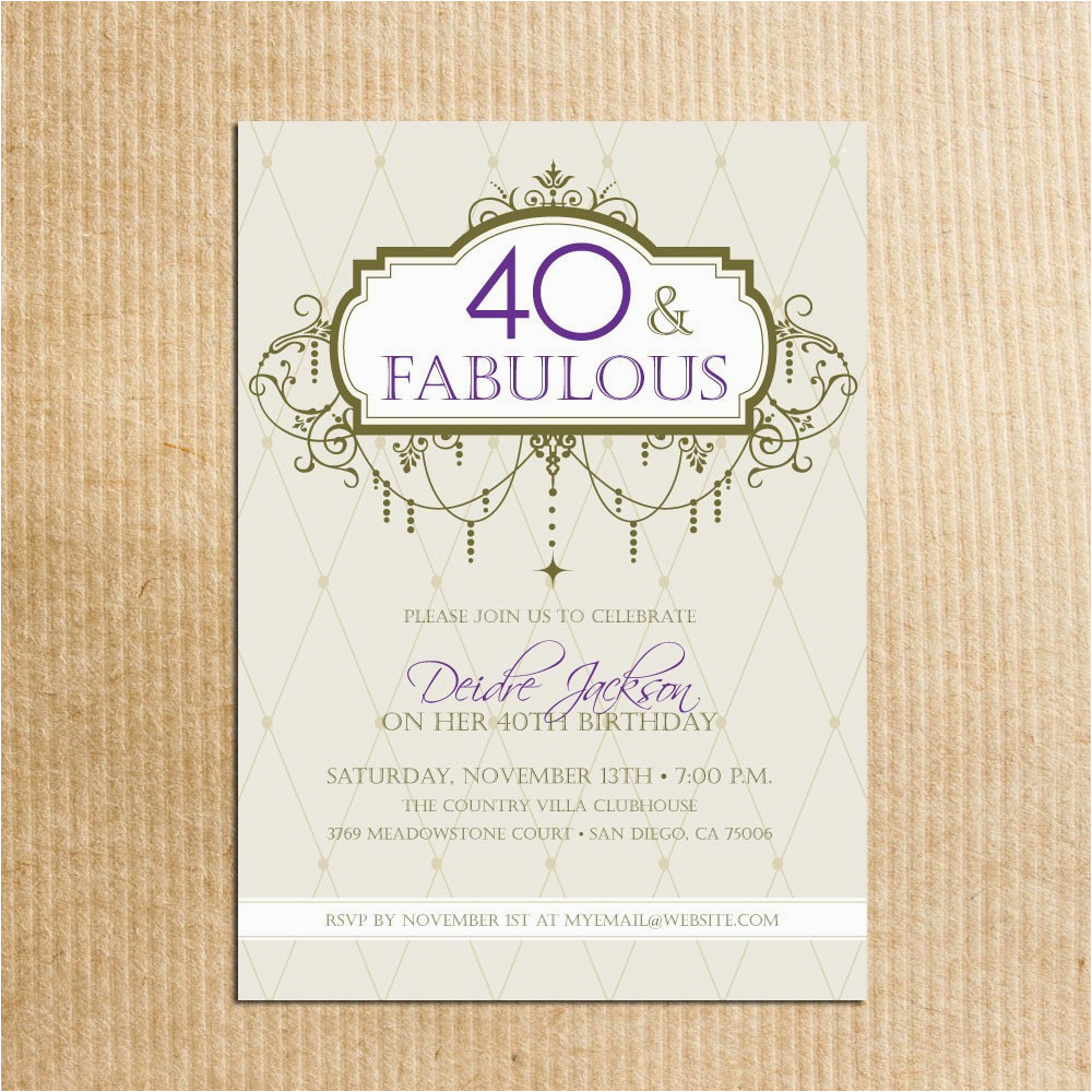 40th Birthday Invitations With Photo Adult Party Digital File