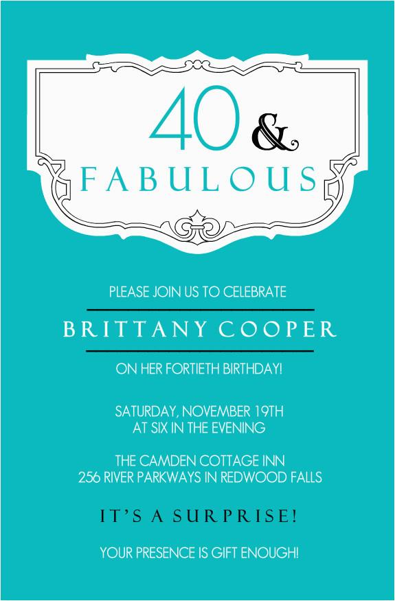 40th Birthday Invite Template 40th Birthday Ideas Free 40th Birthday Invitation