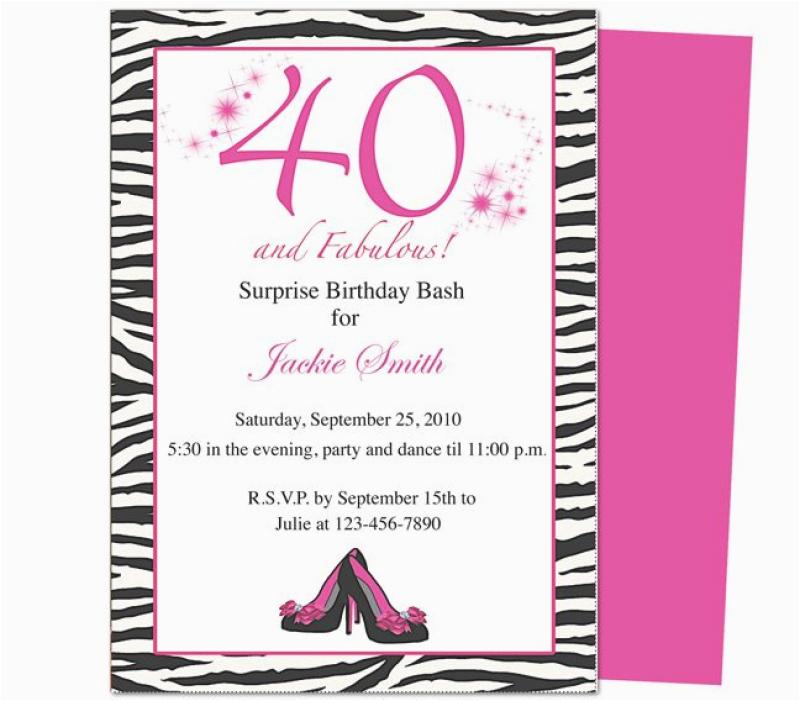 40th Birthday Invite Template Template for 40 Th Birthday Invitation orderecigsjuice Info