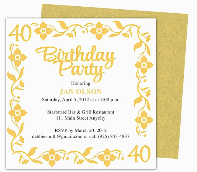40th Birthday Invites Templates Party Invitation Template Free