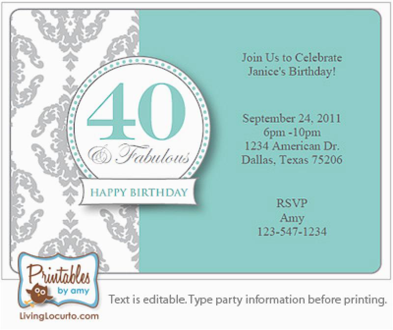 40th Birthday Invites Templates Surprise Invitation Free Template