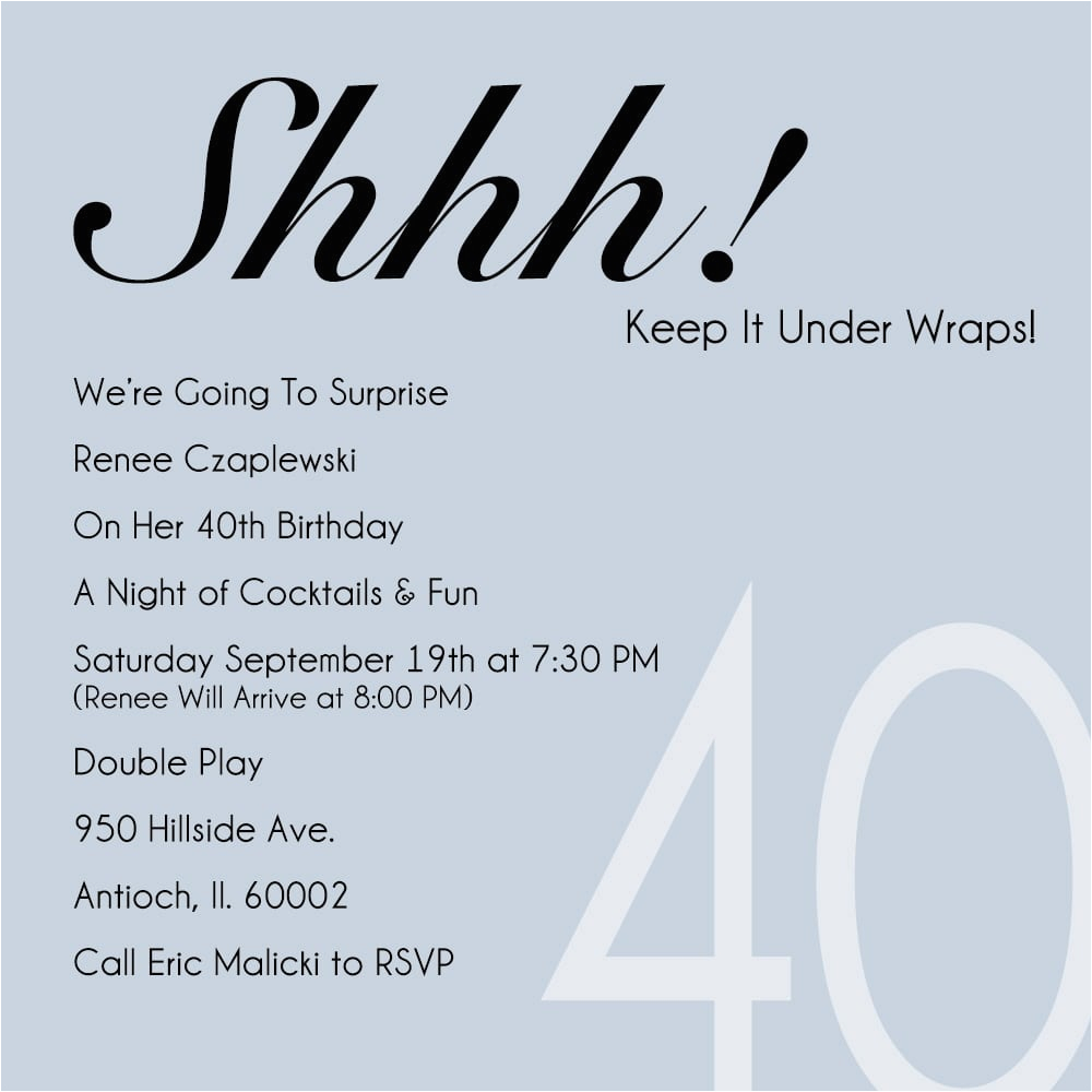 40th Birthday Party Invitations Online 40th Party Invitation Template Free