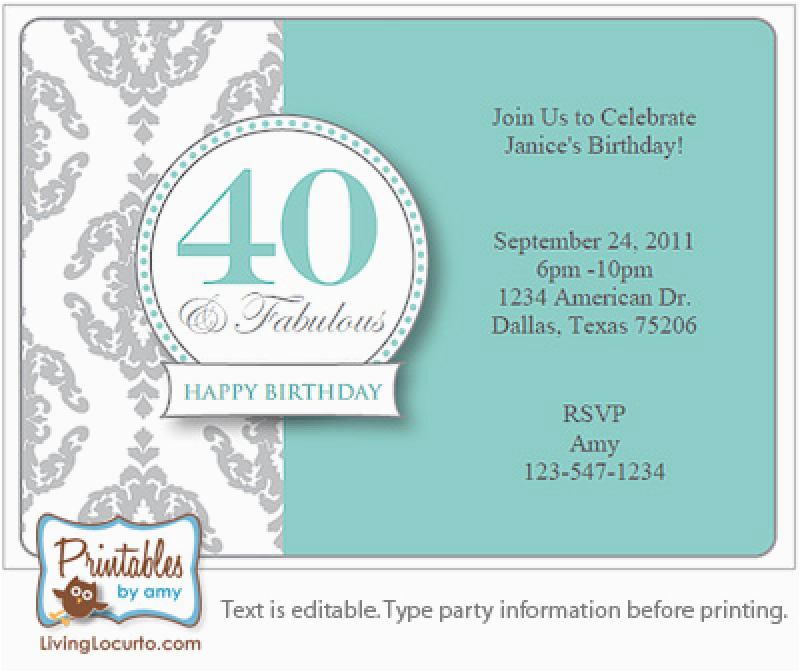 40th Birthday Party Invitations Online Surprise Invitation Free Template