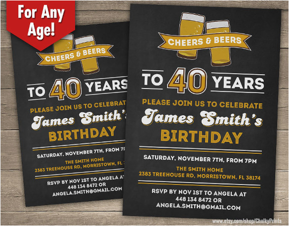 40th Birthday Party Invites Free Templates 24