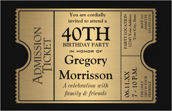 40th Birthday Party Invites Free Templates 24 Invitation Psd Ai