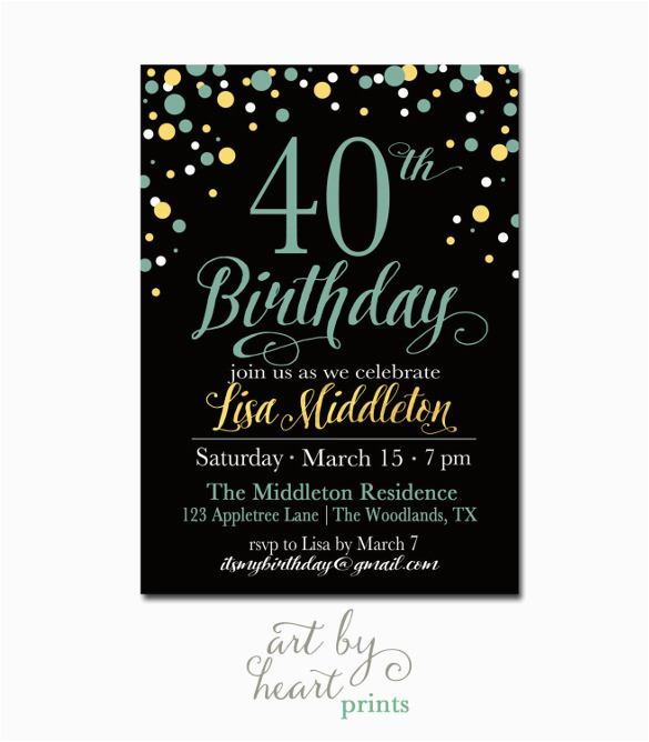 sample 40th birthday invitation