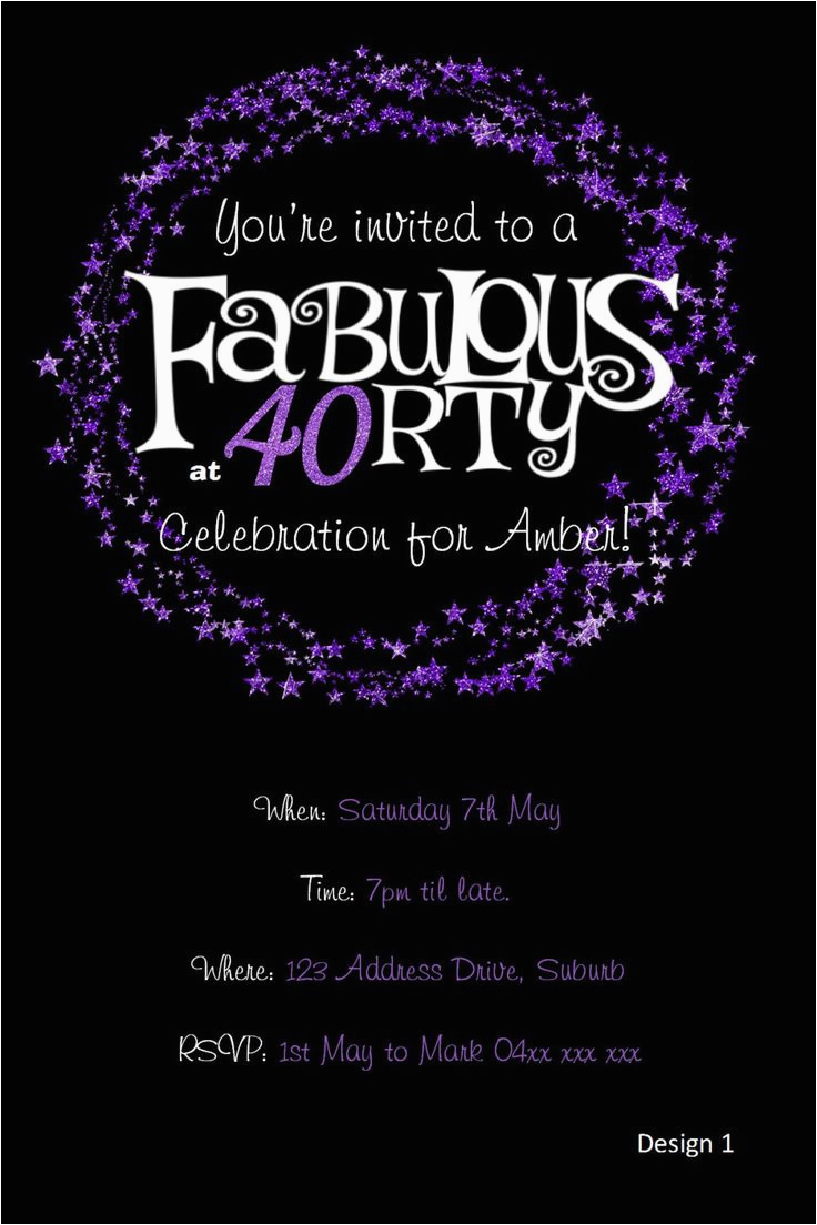 40th Birthday Photo Invitations 40th Birthday Invitation Purple Glitter Invitation You