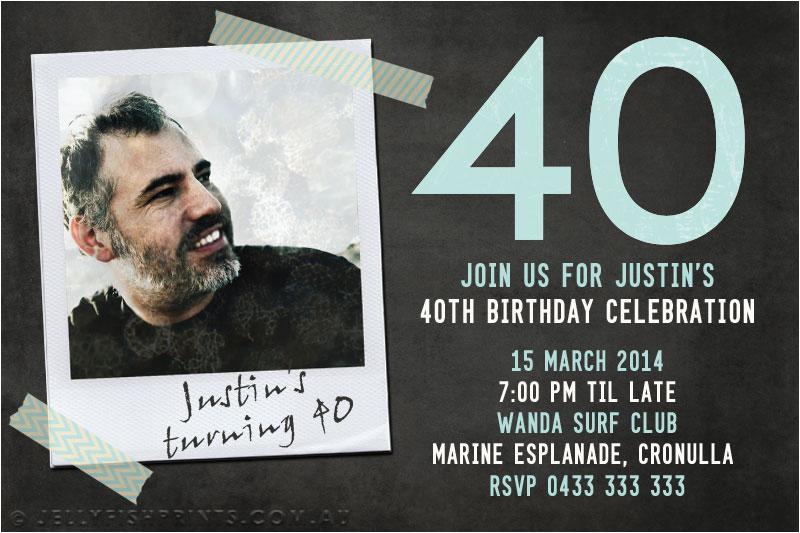 40th Birthday Photo Invitations Printable 40th Birthday Photo Invitations Jellyfish Prints