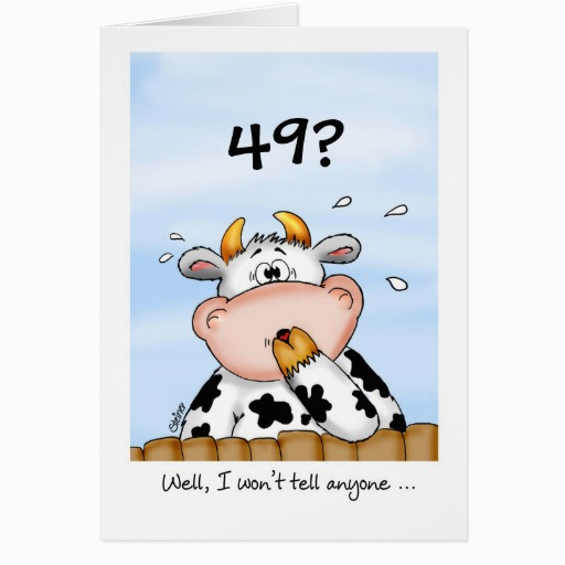 49th birthday humorous card with surprised cow 137418624894937797