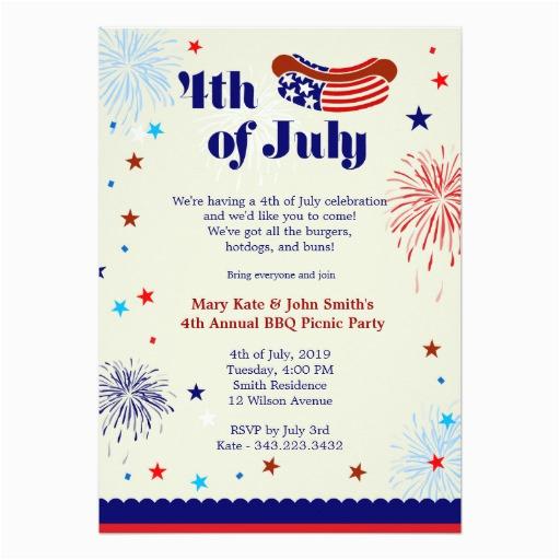 4th of july bbq picnic invitation party invitation card