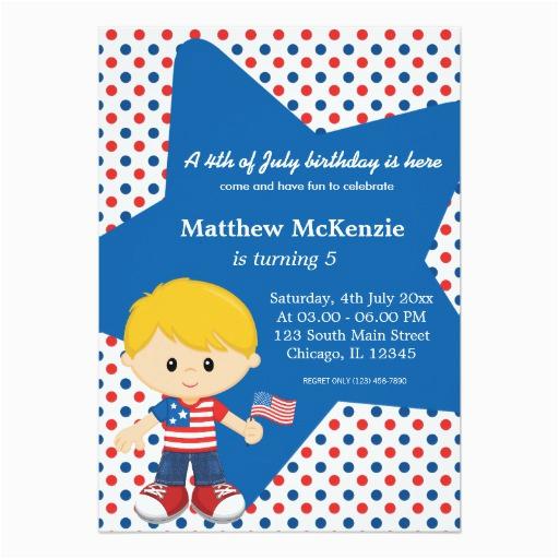 4th Birthday Invitation Cards Of July Boy 5x7 Paper Card Zazzle