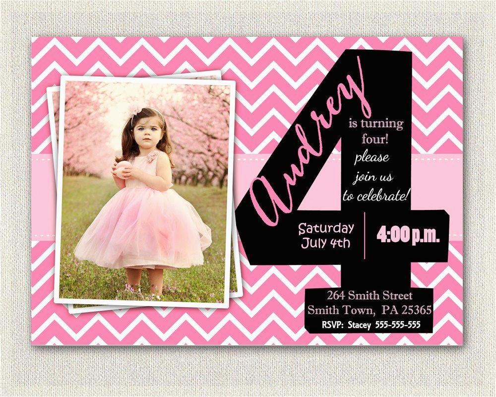 4th Birthday Invitation Cards Girls 4th Birthday Invitations Printable Fourth Birthday