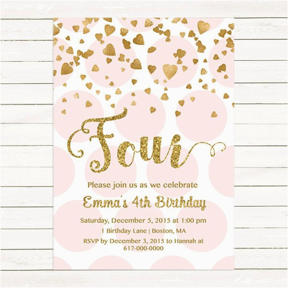 pink and gold 4th birthday invitation girl any age pink