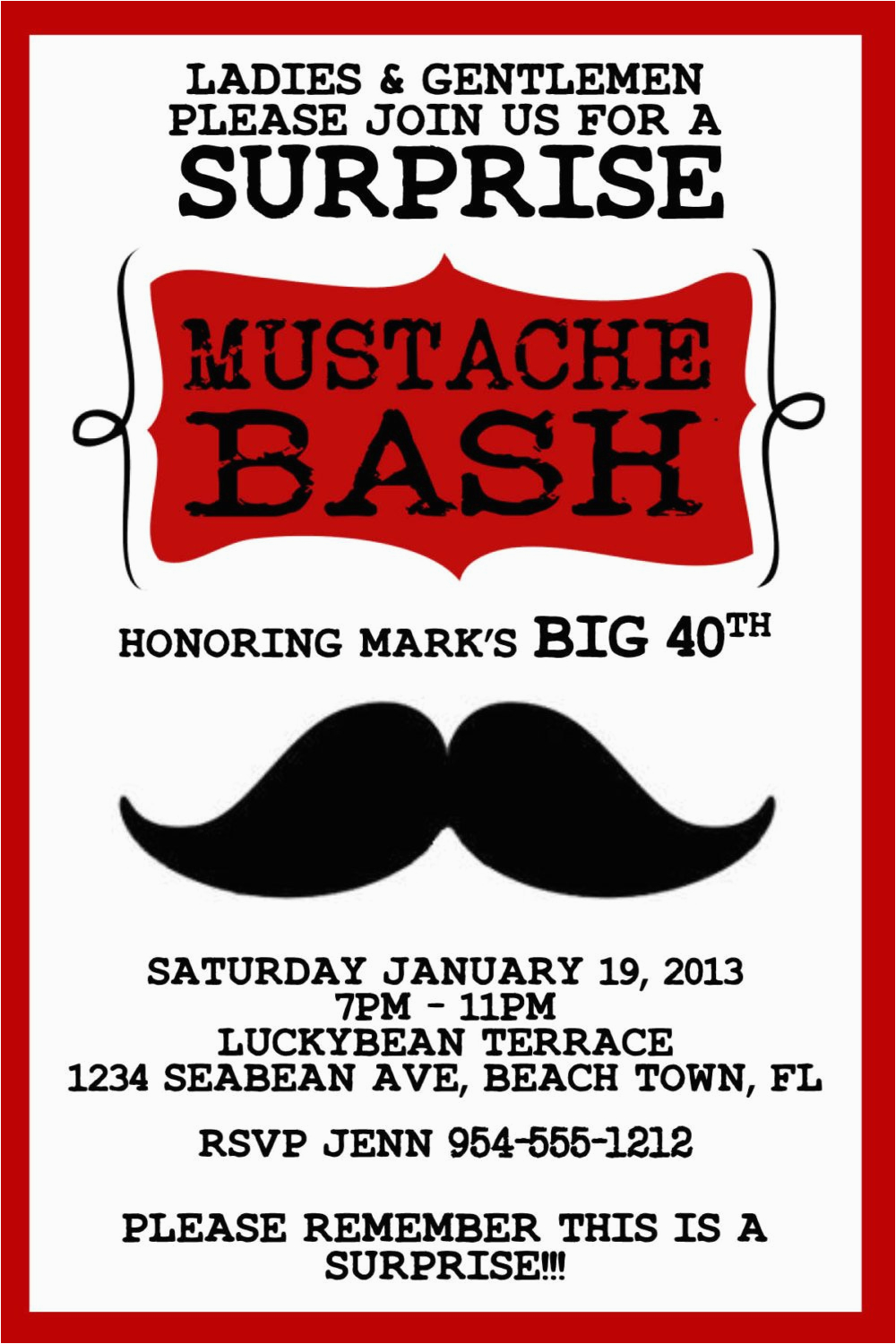 4×6 Birthday Invitation Template Red Mustache Bash Invitation Template ...