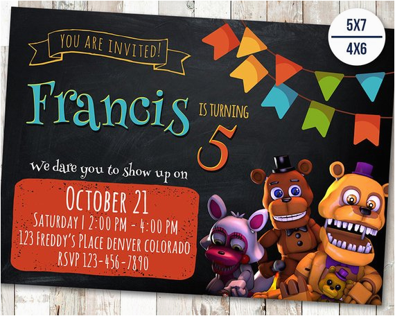 5 Nights At Freddy S Birthday Invitations Five 39 Invitation