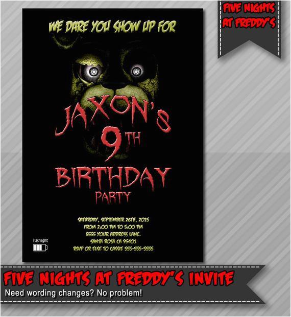 five nights at freddy 39 s invitation freddy fazzbear